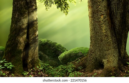 Landscape with massive trees, mossy stones, sunbeams
