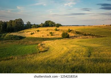 Landscape with masurian meadows near Banie Mazurskie, Masuria, Poland