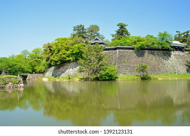Landscape of Matsue castle inner moat and castle wall, Matsue city, Shimane prefecture, Japan