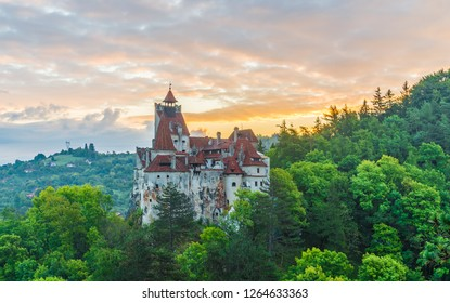 Landscape with medieval Bran castle at sunset, Brasov landmark, Transylvania, Romania