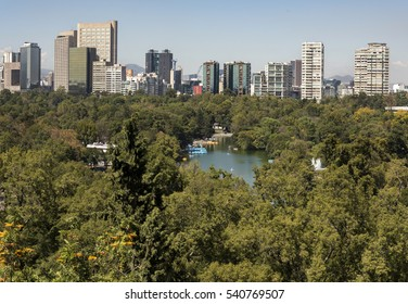 Landscape of Mexico City from park Chapultepec Castle, view of skyscrapers beyond trees of the park, view of the lake, perspective view,park city
