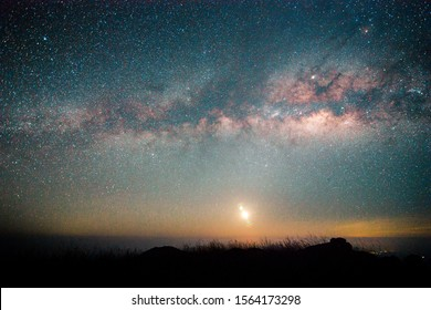 Landscape with Milky way, Milky way background, Night sky with stars and galaxy over night sky and silhouette of a standing people in Thailand