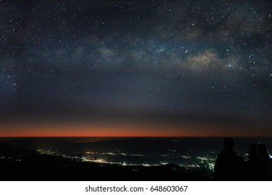Landscape with Milky Way at the Doi Pha Hom Pok National Park,Chaing Mai Province,Thailand. / soft focus