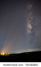 Landscape of The Milky Way Star beautiful sky on Wat Phra that Doi Kerng Temple, Chiang Mai, Thailand.