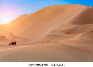 Landscape of Mingsha Mountain in Dunhuang Desert