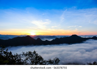 Landscape with the mist at Ban Sa,pea,chahom in sunrise time,lampang, Thailand.