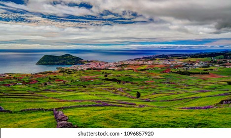 Landscape with Monte Brasil volcano and Angra do Heroismo in Terceira island, Azores, Poetugal