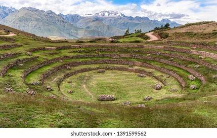 Landscape at Moray, or Muray in Quechua, the Inca agricultural fields archeological site located on a high plateau west of the village of Maras, northwest of Cusco, Peru.