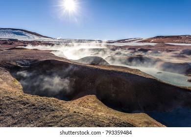 Landscape of the Morning Sun Geysers in Eduardo Avaroa National Park, Bolivia