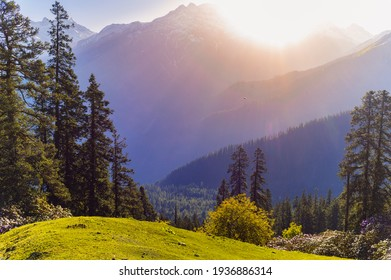 Landscape in the morning. Sunrise in the mountains. Himalayan peaks and alpine landscape from the trail of Sar Pass trek Himalayan region of Kasol, Himachal Pradesh, India.