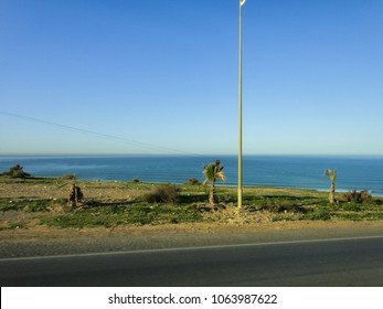 Landscape of Morocco. View of the roadside on the coastal road from Essaouira to Agadir towns. North Africa