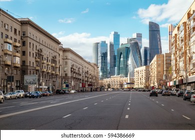 Landscape of Moscow architecture combining modern and old city, Russia. Outdoor modern Moscow city skyscrapers. Travel Russia and explore architecture landmarks of Moscow business center. Urban Moscow