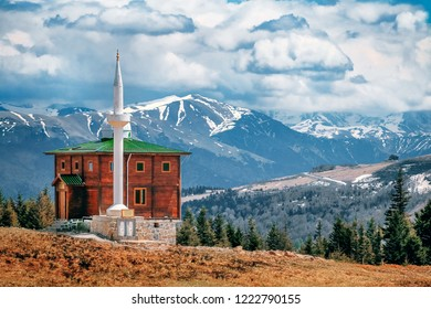 landscape if Mosque in snow countryside of turkey, Trabzon , sultan murat yaylasi