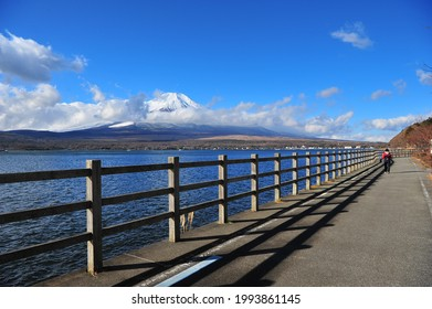 Landscape of Mount Fuji with Cloud at Yamanaka Lake in the Morning