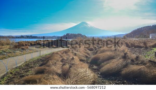 Landscape of Mount Fuji with Kawaguchiko Township in Yamanashi Prefecture, Japan.