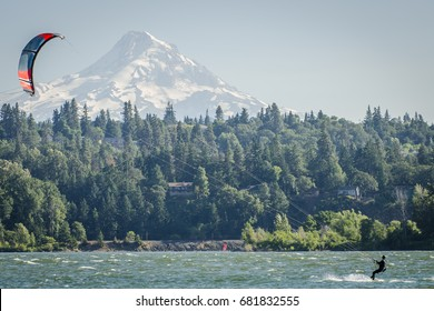 Landscape of Mount Hood in Oregon, USA, green pine trees in front of the huge snowy mountain with one person kiteboarding on the Columbia river in the foreground.