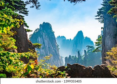 Landscape of Mount Huangshan (Yellow Mountains). UNESCO World Heritage Site. Located in Huangshan, Anhui, China.