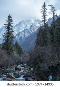 Landscape of Mount Siguniang(Four Girls Mountain, Four Sisters Mountain, Oriental Alps) in Ngawa Tibetan and Qiang Autonomous Prefecture, Sichuan Province, China.