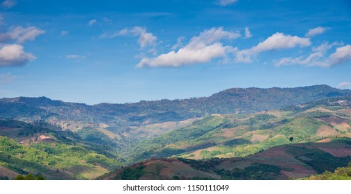 Landscape of Mountain with blue sky and clouds for background,Nature concept background.