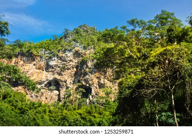 Landscape Mountain Cliff At Thee Lor Sue Waterfall Park , Tak Provice , Thailand
