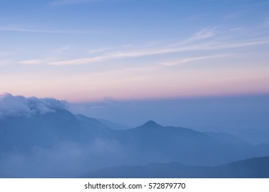 Landscape mountain and cloud with sun light morning time.