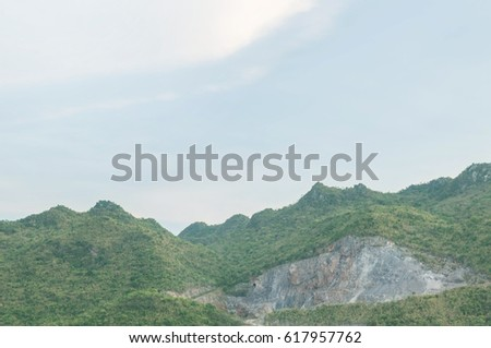 landscape mountain destroyed by rock explosion stock photo edit now