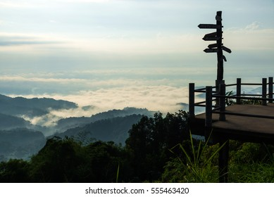 Landscape of mountain with fog and cloud,View Point of Doi Tung,Chiang Rai,Thailand.