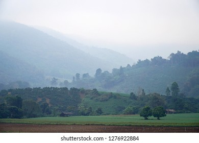 landscape of mountain and  fog in the morning.