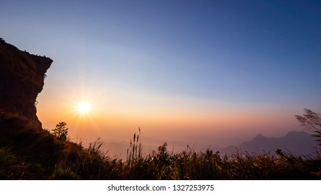 Landscape of mountain high view with sun rise in the morning at Phucheefah Chiangrai, Thailand