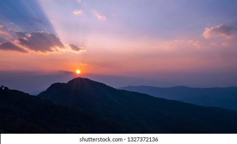 Landscape of mountain high view with sun rise in the morning at Chiangrai, Thailand