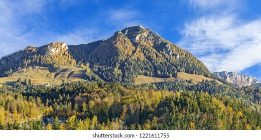 Landscape with mountain Jenner, forests and alpine pastures near Berchtesgaden in Bavaria, Germany