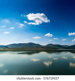 Landscape of mountain and lake with blue sky background