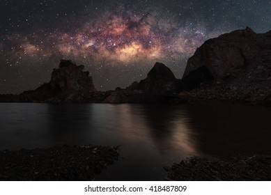 Landscape mountain with Milky Way galaxy