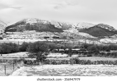 Landscape with mountain and plain. With snow from the night before. Province of Avila. Spain.