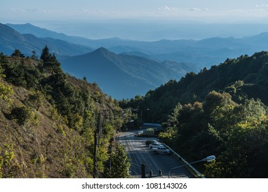 The landscape of mountain ranges in the distant at Doi Inthanon, Chaingmai, Thailand.