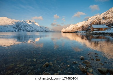 Landscape of Mountain reflection, Ersfjordbotn, Norway.