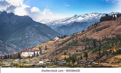 landscape of mountain and valley country,Thimphu city in Bhutan