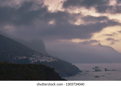Landscape with mountain village Taganana at sunset. Canary Islands, North Tenerife, Spain.