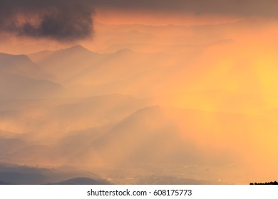 landscape mountain and warm light and rainy in nature, Doi  Inthanon, Chiangmai Thailand
