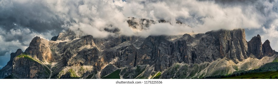 Landscape of mountains of Alta Badia in the Dolomites in wet season, Trentino-Alto Adige - Italy