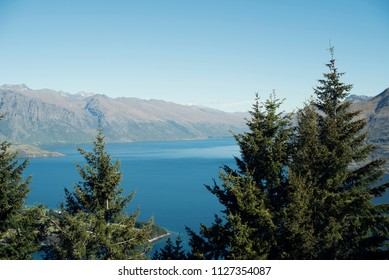 Landscape of mountains and a blue lake form above