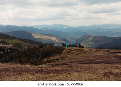 landscape in mountains Carpathians Ukraine, Dragobrat