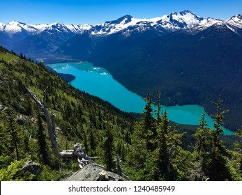 Landscape of mountains and Cheakamus lake from the summit of Whistler Mountain in the summer months