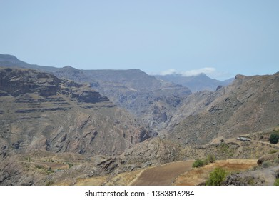 Landscape with mountains and cluds in canary islands