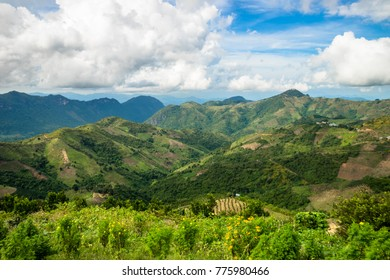 Landscape of mountains, farms and fields on the trek from Kalaw to Inle Lake in Myanmar (Burma), Asia. Trekking in Kalaw mountains