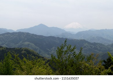 Landscape of mountains and Fuji Mount in Japan during summer.