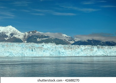 Landscape of mountains and glaciers in Glacier Bay Alaska