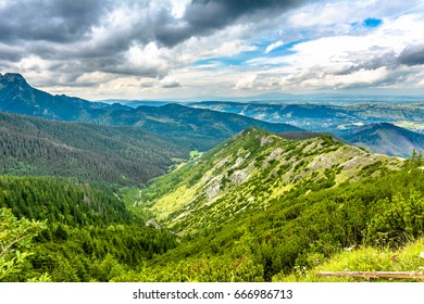Landscape of mountains, green hills and valley in Carpathians, Poland
