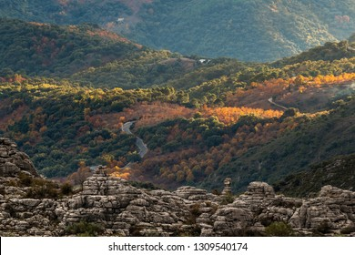 Landscape of mountains hillsides with autumnal colorful woods and rocky formation in sunlight