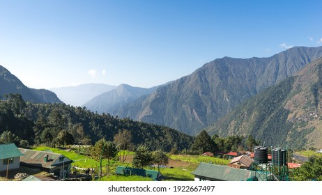 landscape in the mountains, Lukla Airport viewpoint, Everest Base Camp trek, trekking in the Himalayas